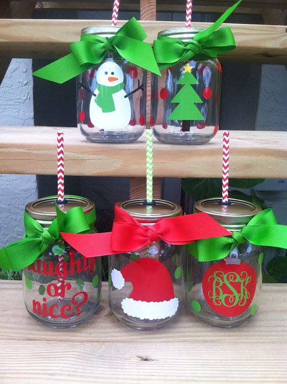Personalized Christmas / Holiday Mason Jar Cup w/ Straw on Etsy, $8.00