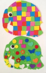 Elmer the Patchwork Elephant fridge magnet from Story Snug. Download the elephant template and use craft foam to make a colourful magnet. #MyElmer