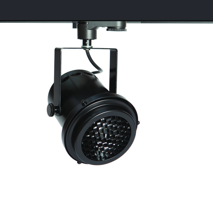 The black TRi-PIN-LED with honeycomb louvre - from Photec Lighting