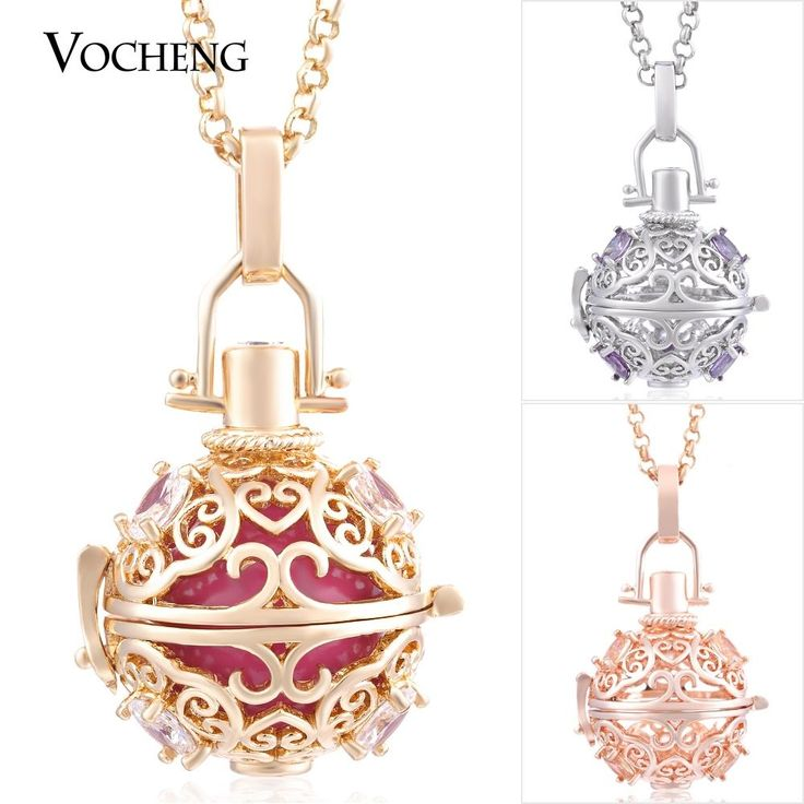 10pcs/lot CZ Stone Stainless Steel Chain Cage Necklace Pendant Jewelry VA-221*10 #VOCHENG #Locket
