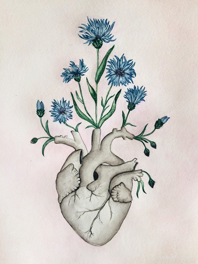 Floral Heart Anatomy Painting Unique Love Gift Watercolor