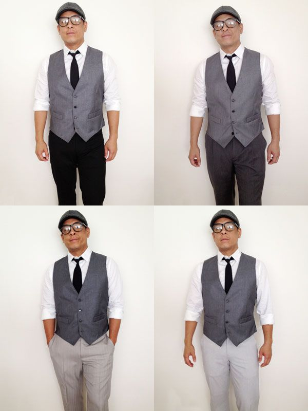 4 shades of pants that could go with The Grunion Run gray vest ...