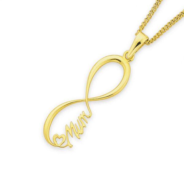 9ct Gold Large 'Mum' Infinity Pendant