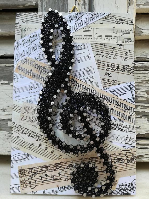 Handmade String Art Sign, Music Scores, Sol Key, c…