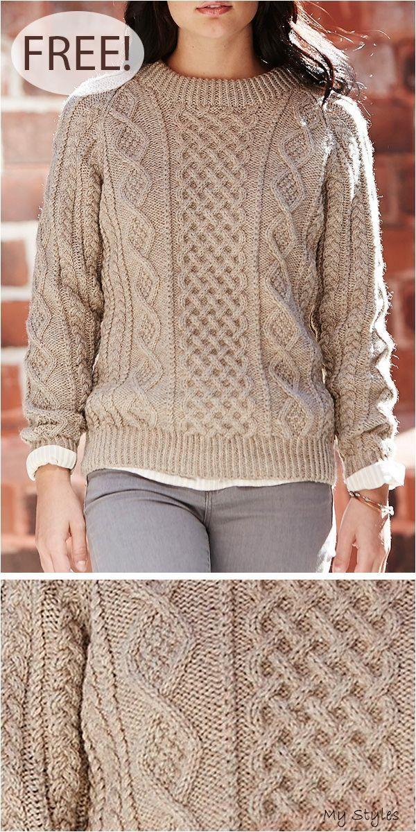 Free Knitting Pattern for Honeycomb Aran Sweater #knitting ...