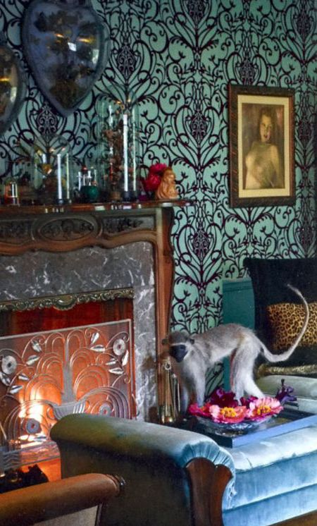 Allover pattern on flocked wallcovering. Home of Dita Von Teese as featured in InStyle magazine.