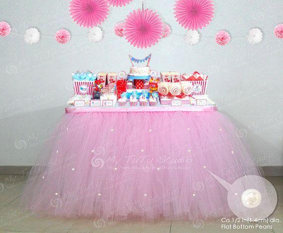 Custom Tulle Table Skirt Tutu Decoration For Weddings Imitation Pearls Birthdays Baby Bridal Showers Parties Party Decor