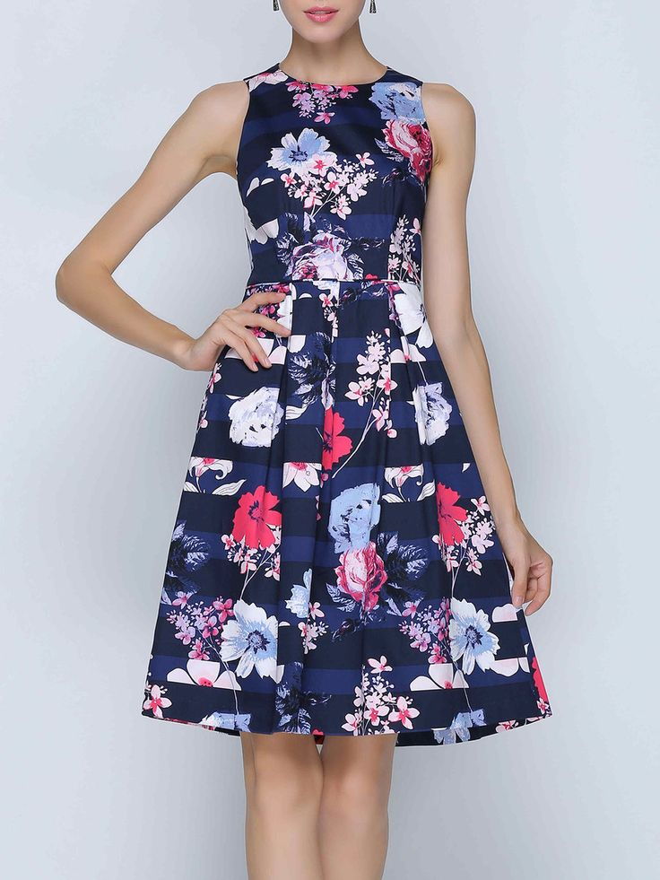 #AdoreWe StyleWe Midi Dresses - She's Multicolor A-line Floral Casual Cotton-blend Midi Dress - AdoreWe.com
