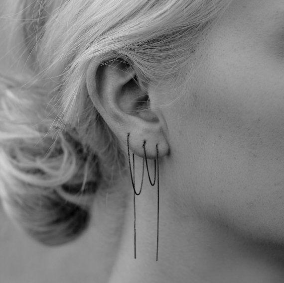 Chain earring Minimalist ear thread by StillWithYou on Etsy, $65.00