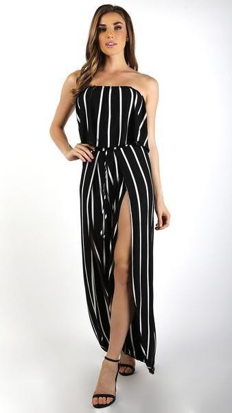 a0d463ea7d Striped Ruffle Jumpsuit with Long Slit Pants