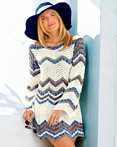 Multicolor ZigZag Stripe Flare Long Sleeve Top free crochet graph pattern