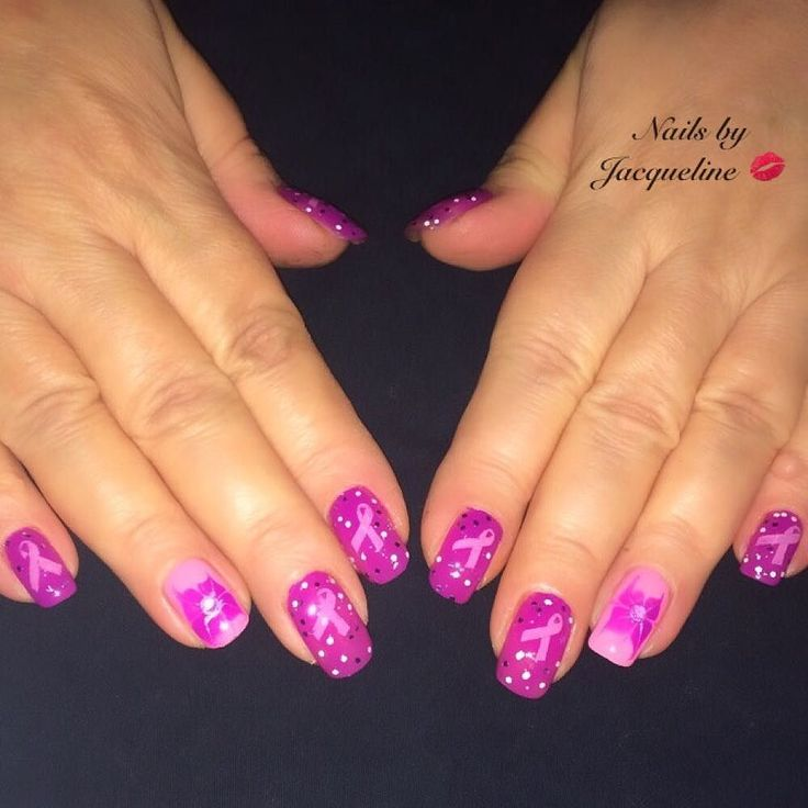 Breast Cancer Awareness Nails Did this set on my beautiful mom who is a breast cancer survivor  Added a little Drymarble flower on accent nail I used Purple Power by A.co (Ardene.com) Pink of Me & Dream On by @sinfulcolors_official (I was told you could stamp with them... And yes they stamp wonderfully ) and plate BP-L006 from @bornprettystore #nails #nailsdid #nailswag #nailsofinstagram #nailsaddict #nailart #naildesign #nailpolish #notd  #nailobsessed #naillove #ignails  #nailsdaily…
