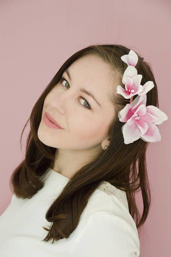 Magnolia Hair Flowers - Floral Hair Comb - Silk Flowers - Bridal Hairpiece - Pin Up Hair Flowers - Pink - Bridal Hair Accessories