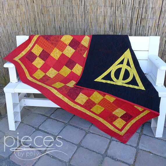 Harry Potter Inspired Hogwarts House Quilt - FREE Hogwarts Letter Included - Gryffindor - Ravenclaw, Hufflepuff, and Slytherin Available -