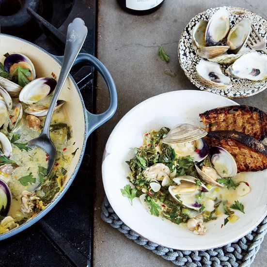 This  Clam-and-Oyster Pan Roast Recipe gets flavor from Dry Vermouth, Thyme, Mustard Greens and more. Food & Wine.