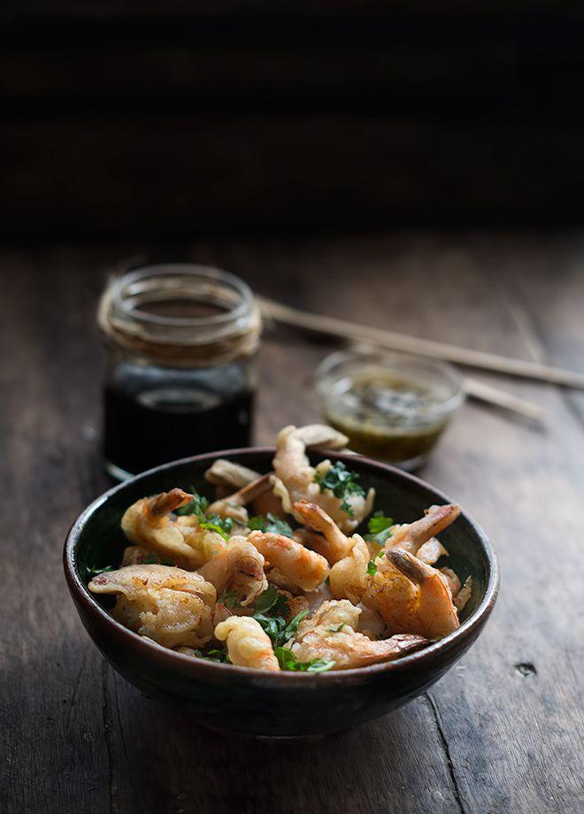 Camarones en tempura con mermelada serrana