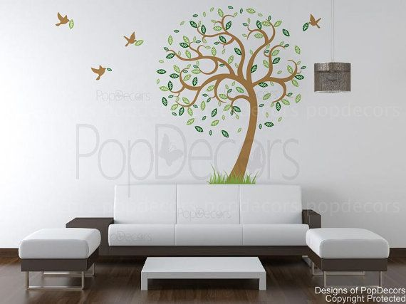Hope tree with flying birds 78inch H  Removable Vinyl by popdecors, $58.00