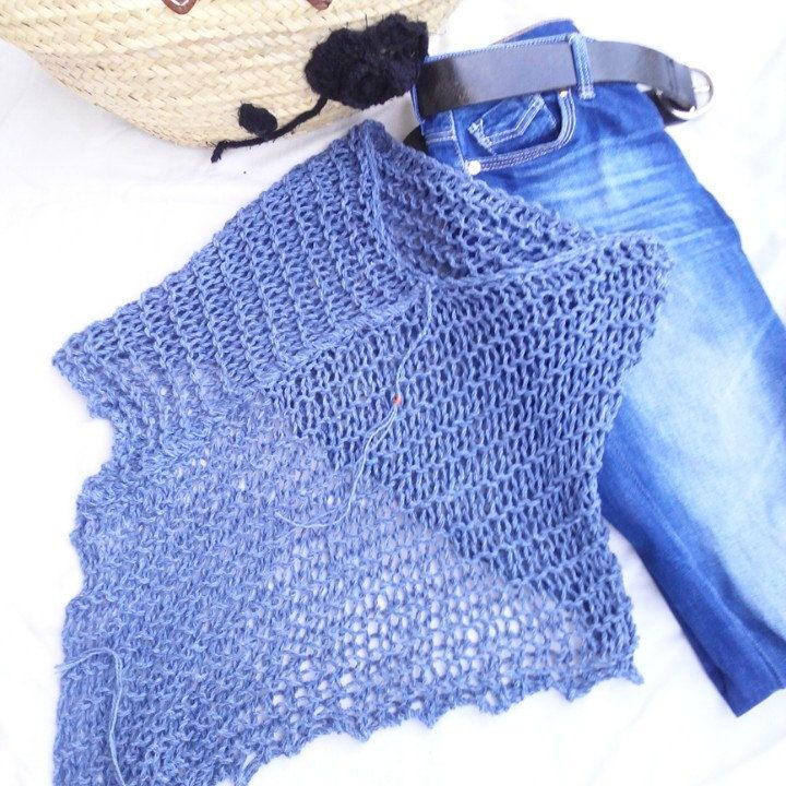 Denim on denim.  Last unit of this knitted poncho 100% cotton. I love it!!