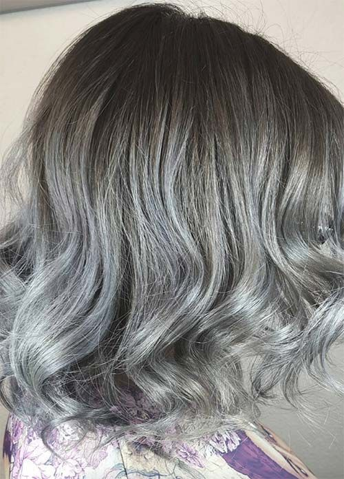 Granny Silver/ Grey Hair Color Ideas: Balayage Ombre Grey Medium-Length Hair