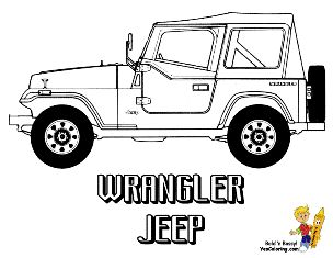 this is a car coloring page of a jeep wrangler at yescoloring http