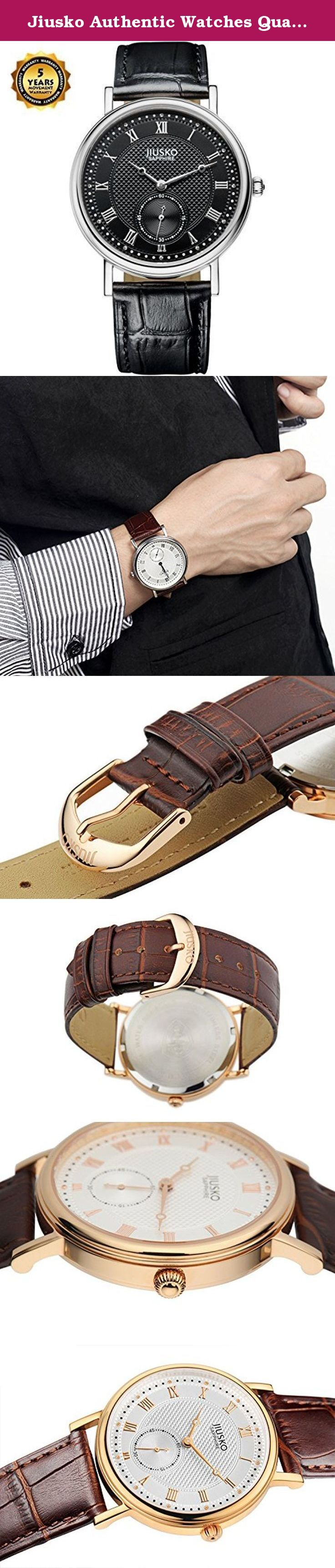 Jiusko Authentic Watches Quartz Movement Sapphire Crystal Roman Numerals Water Resistant Stainless Steel Genuine Leather Black Leather Strap Luxury Watches Best Mens Watches. The JIUSKO Elegant Collection-Classic design meets today's technology for an authentic designer watch that's made to please, and made to last! A simple, three-hand watch that looks as great peeking out of the cuff of a tuxedo as it does dressed down with a T-shirt and jeans. Crafted from surgical grade stainless…