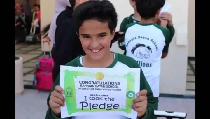 Good Luck Bayan! Our Bayan School Ecoboosters are finalists of the Zayed Future Energy Prize. The team created a platform for educating and raising awareness on sustainable practices and technologies. Watch their video and let's congratulate their great efforts and wish them best of luck! Join Bahrain and the Bayan school in thanking Zayed Future Energy Prize by signing the Bayan Zayed…