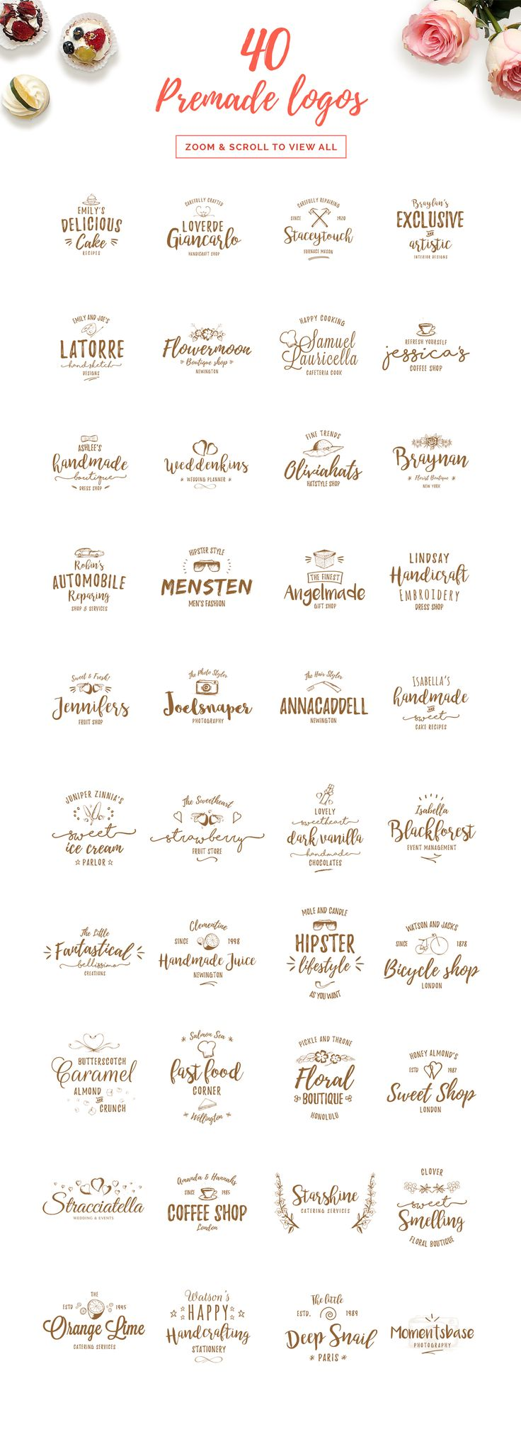 IN LOVE with all these minimal and feminine premade logo design templates. Perfect for graphic design and your personal identity branding!