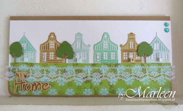 Card made by DT member Marleen with Creatables Zaanse Schans (LR0382), Horizon Trees (LR0355) and Craftables New Home (CR1314) by Marianne Design