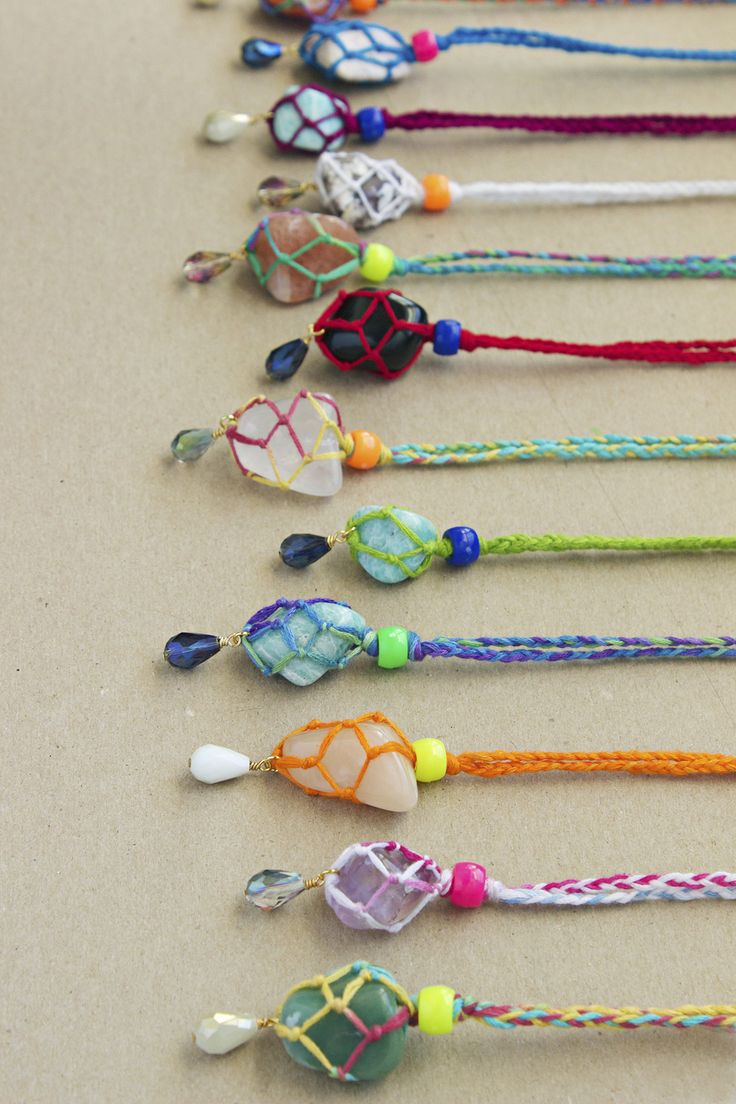 wrapped rainbow gemstone necklaces  DIY tutorial found on Quiet Lions Creations!