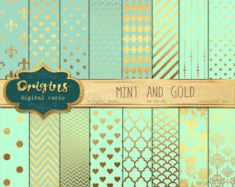 Gold Foil Digital Paper Pack: Mint & Gold by DesignLovelyStudio