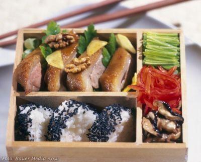 Kachna s ořechy a houbami shitake - Ahiru no sogajaki