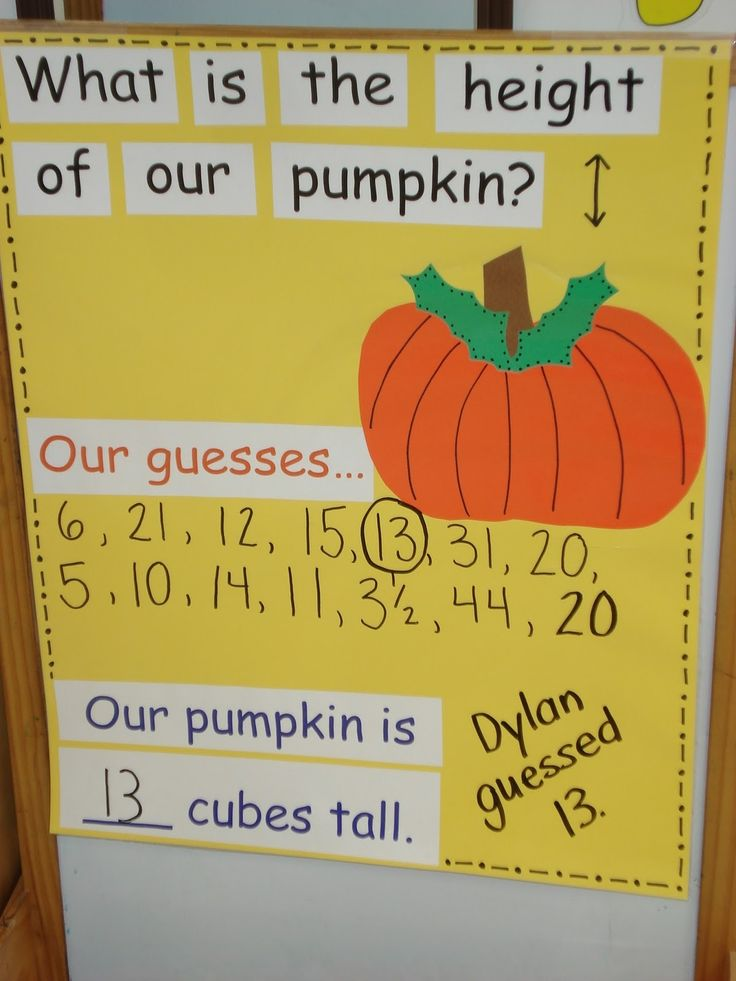 Pumpkin math fun- October idea.Buy a large class pumpkin. Themed learning maybe: writing prompts with pumpkin, read about pumpkins, dress pumpkin up as book characters and do math problems related. Buy another smaller pumpkin and find the difference in height. At the end of the month, take out and count the seeds, etc.
