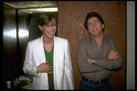 Singer David Bowie (L) laughing w. actor Martin Sheen. (Photo by Robin Platzer//Time Life Pictures/Getty Images)