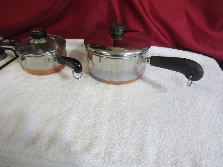 REVERE WARE 1 & 2 QT Sauce Pan Pots W/ Lids~Copper Clad Stainless~Clinton IL USA #RevereWare