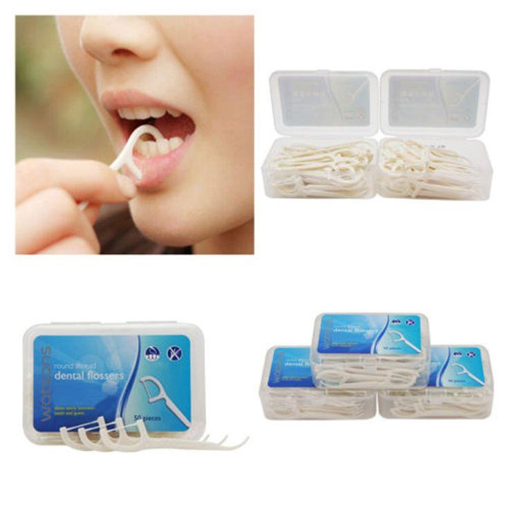 50 Unids/set Blanco Plástico Flosser Interdentales Hilo Dental Selecciones Sticks Cuidado de los Dientes Oral Clean Palillos de Dientes dientes colección