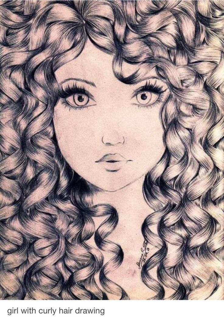 pretty face with wild hair drawings