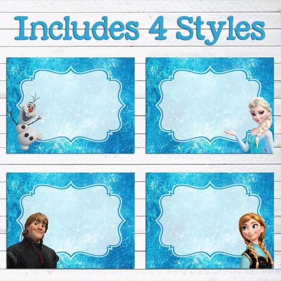 Instant Download Disney Frozen Food Labels // Frozen Birthday Party // Frozen Food Tents by PersonalizedChalk, $3.50