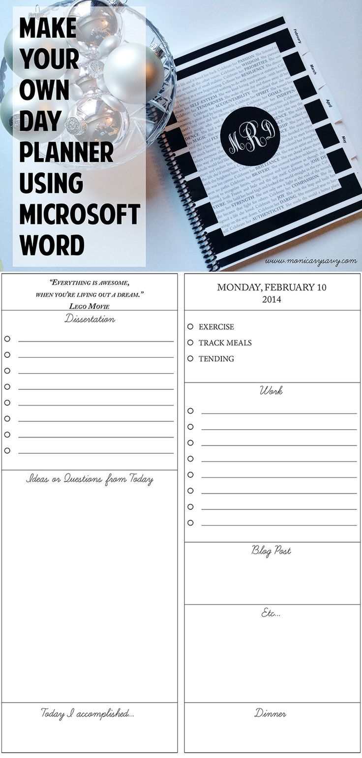 how to create a planner in word