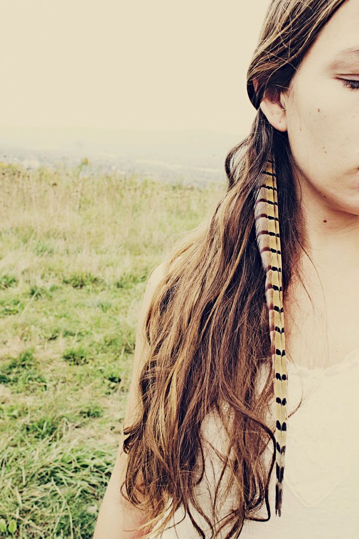 Handmade Extra Long Pheasant Feather Extension Hair Clip, 16 inches long, feather symbolism. $18.00, via Etsy.