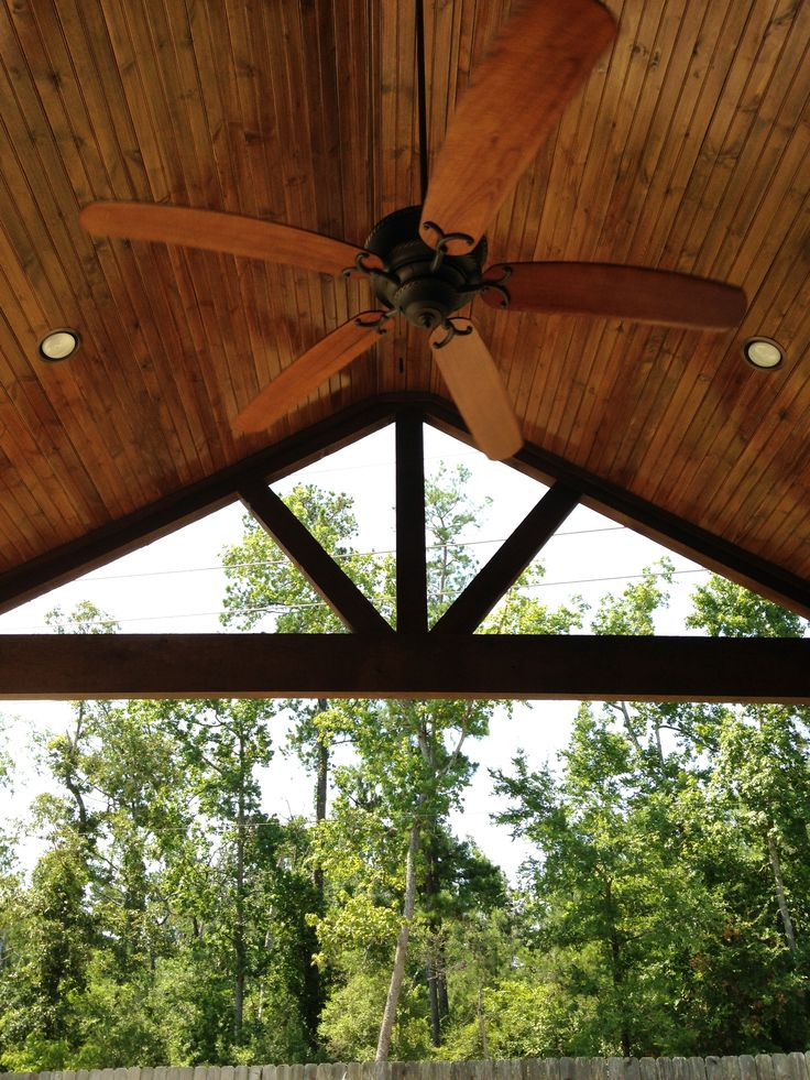 Covered Patio/A-Frame/Stained Cedar Beams/Wood Stained Ceiling