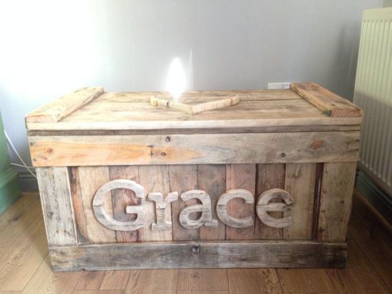 Personalised Toy Box from Reclaimed Wood and Heart Lid by TyHapus