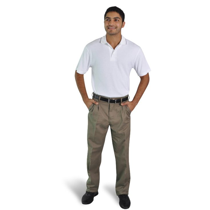 Polycotton Chinos BRAND: OAKHURST Has pleated styled front and double back pockets