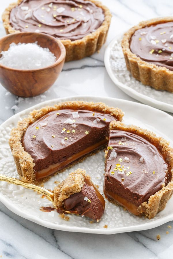 Salted Dark Chocolate & Dulce de Leche Tart recipe: A rich and airy dark chocolate ganache mousse and a layer of creamy dulce de leche, with a sprinkle of sea salt.