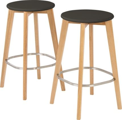 set of 2 fjord bar stool oak and grey from madecom light
