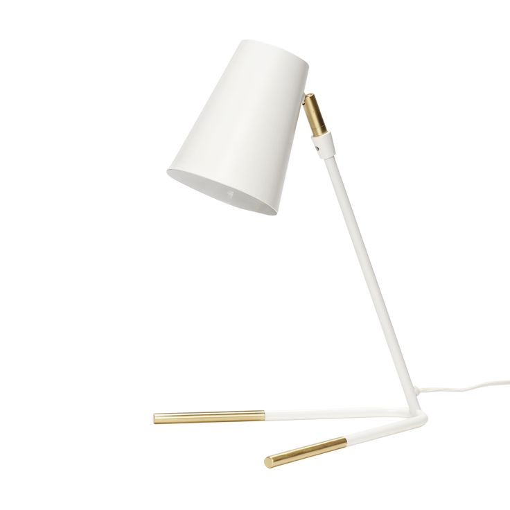 White and brass table lamp. Item number: 370409 - Designed by Hübsch