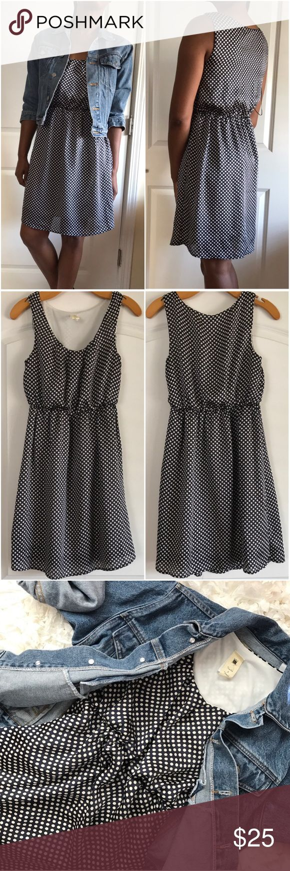 """Needle & Thread Anthropologie Polka Dot Sheath Blue and white skater dress with elastic cinched waist. Polka dot print on satin material.  Belt is not included. Length is 35.5"""", Pit to pit 17.5"""", across waist 11"""" ( has elastic band for stretch. Anthropologie Dresses Mini"""