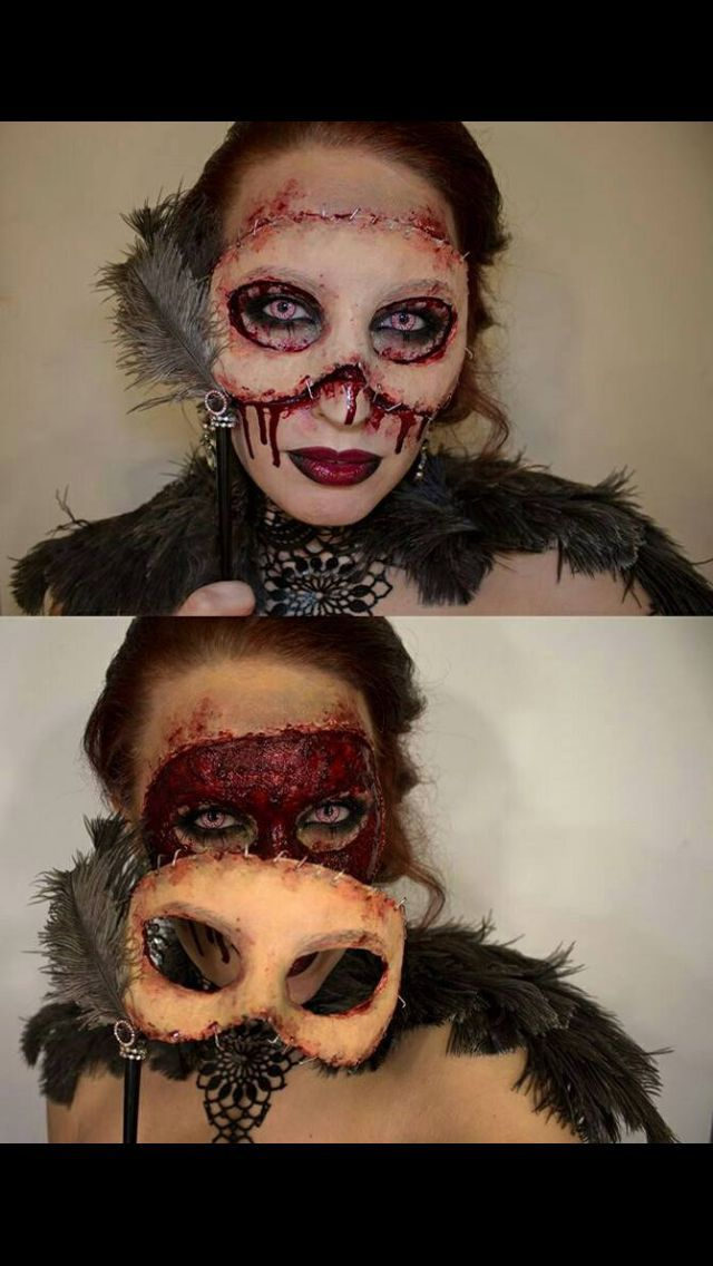 Horrifying masquerade makeup with mask. Pretty zombie? Or nightmare fuel?! - 18 Horror Makeup Ideas