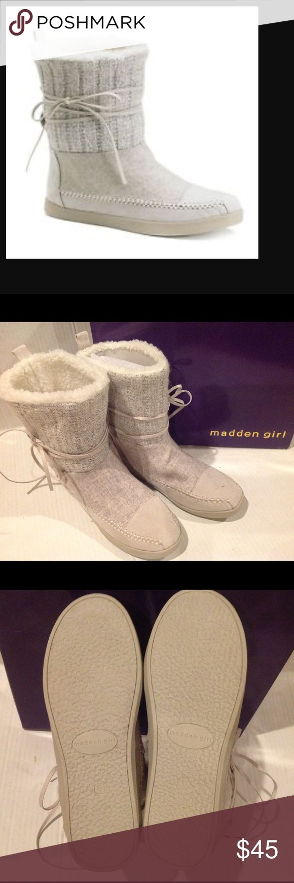 🆕MADDEN GIRL WOMENS WHITE CREAM BOOTS (Sz 6) Madden Girl Women's white cream Multi Microfiver JACKMEN boots. It has a solid boot pattern. The material is textile upper lining , faux fur collar.BRAND MEW WITH TAG AND COMES IN ITS ORIGINAL BOX. Madden Girl Shoes