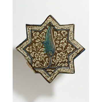 Tile        Place of origin:        Kashan, Iran (made)      Date:        early 14th century (made)      Artist/Maker:        Unknown (production)      Materials and Techniques:        Fritware, glazed and painted in
