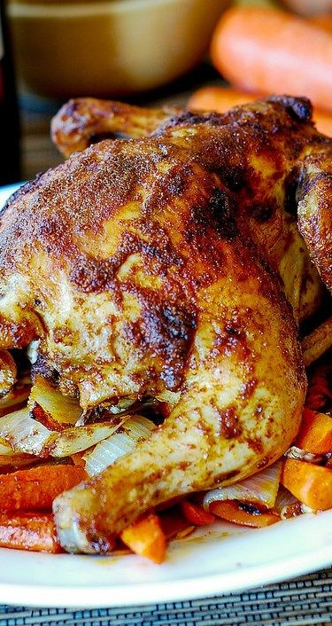 Oven Roasted Cornish Hen and Vegetables (carrots, sweet potatoes, onions). Gluten free recipe #chicken #dinner